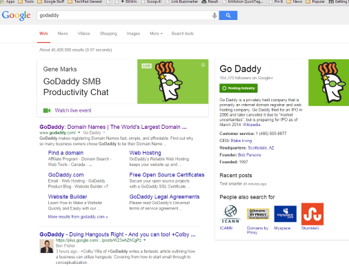 search for godaddy and it ranks at the top