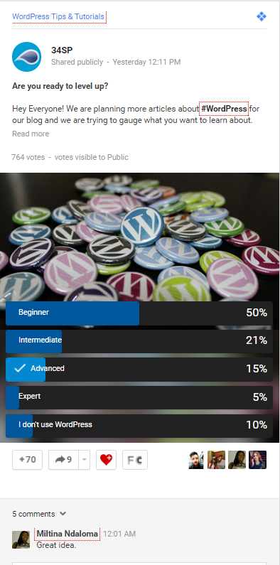 34SP.com Google+ Case Study Polls