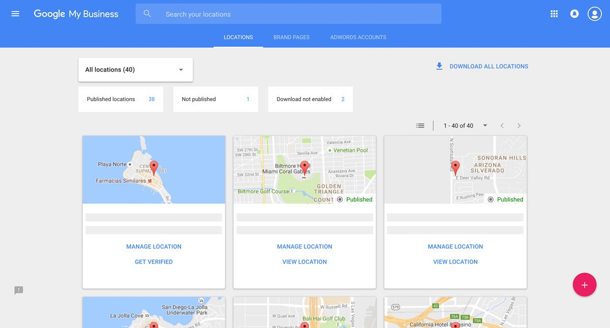 google my business locations cards