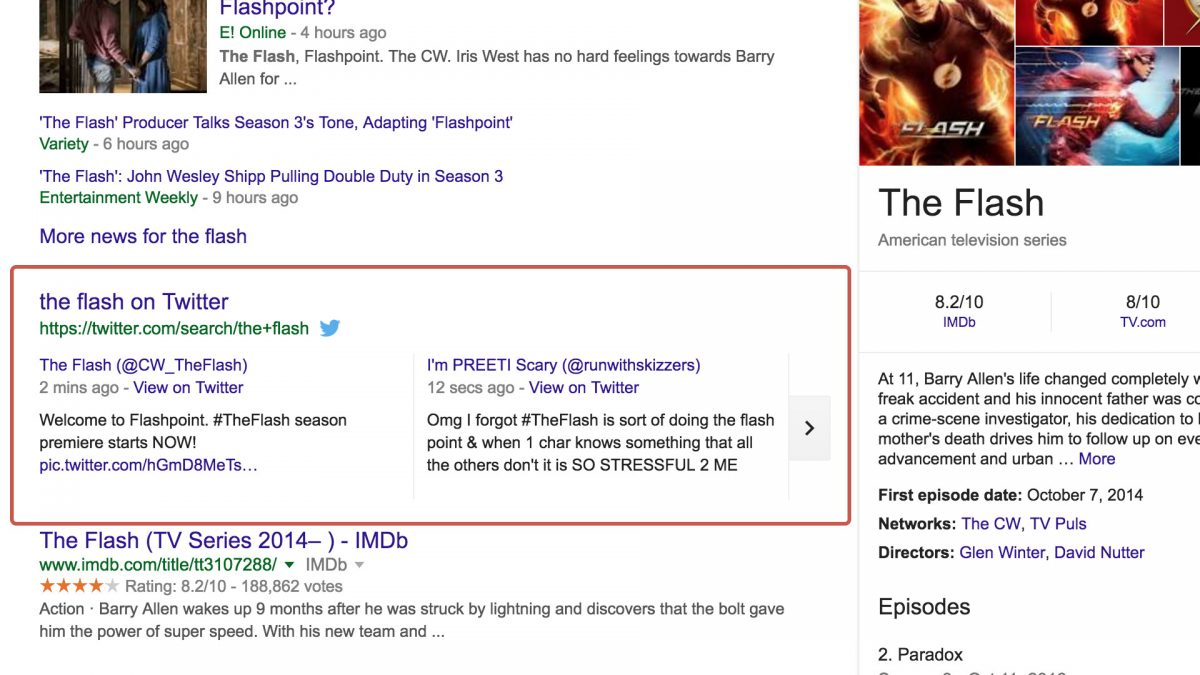 the flash twitter carousel in google search