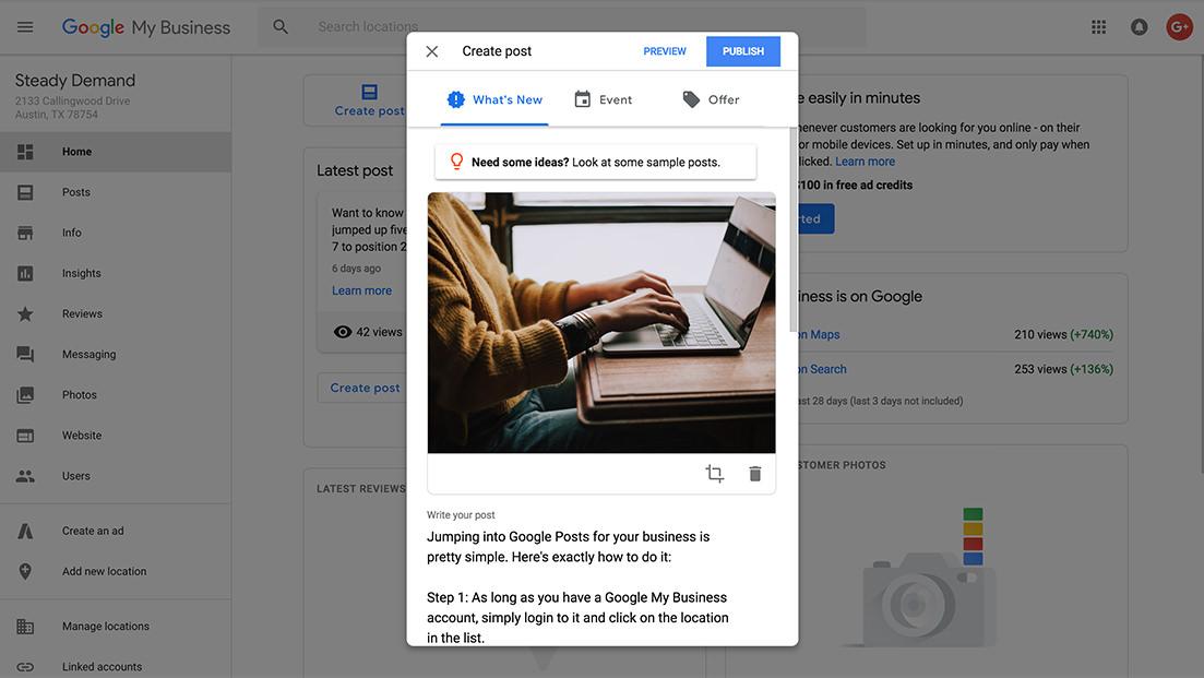 Google Posts interface step 4