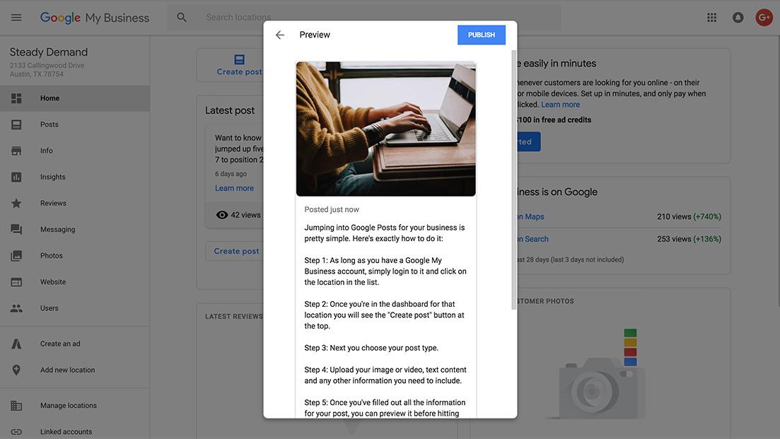 Google Posts interface step 5