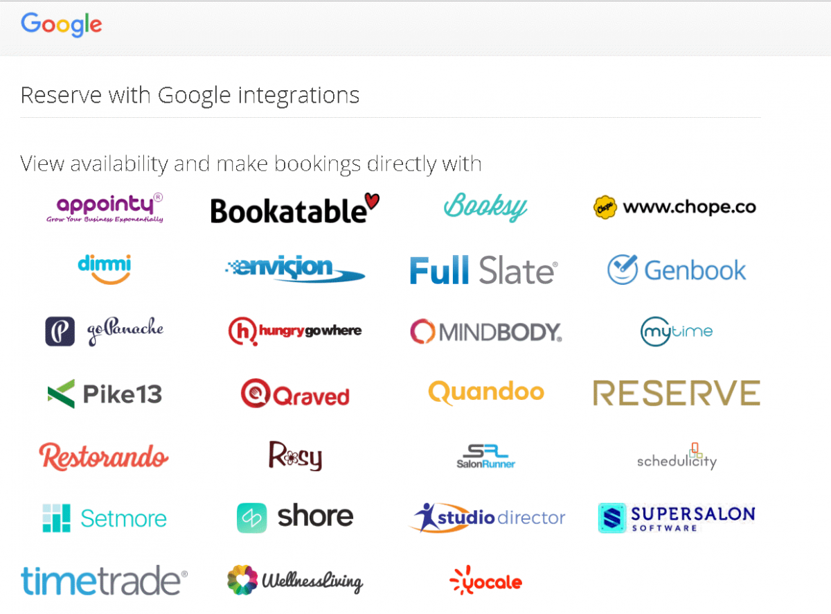 Google Bookings Partners