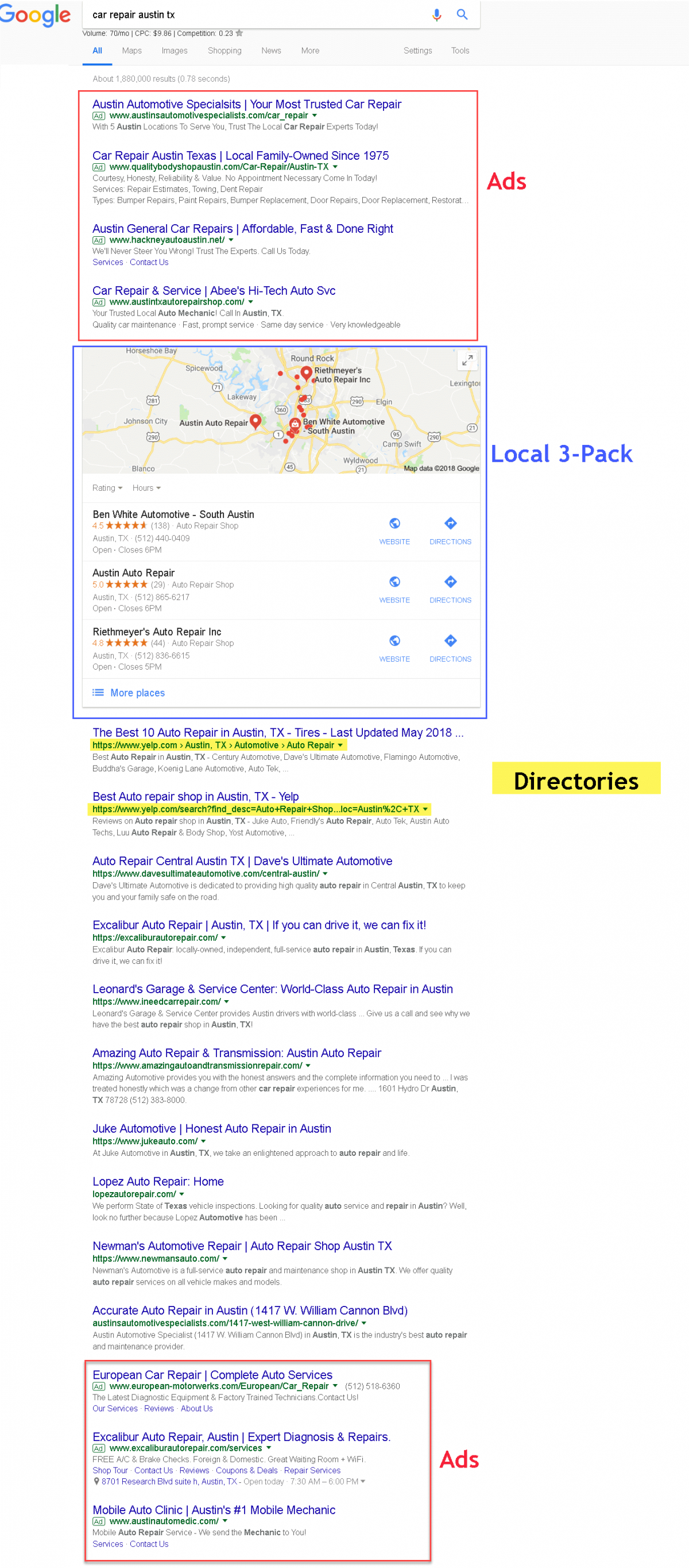 Google serps 3-pack