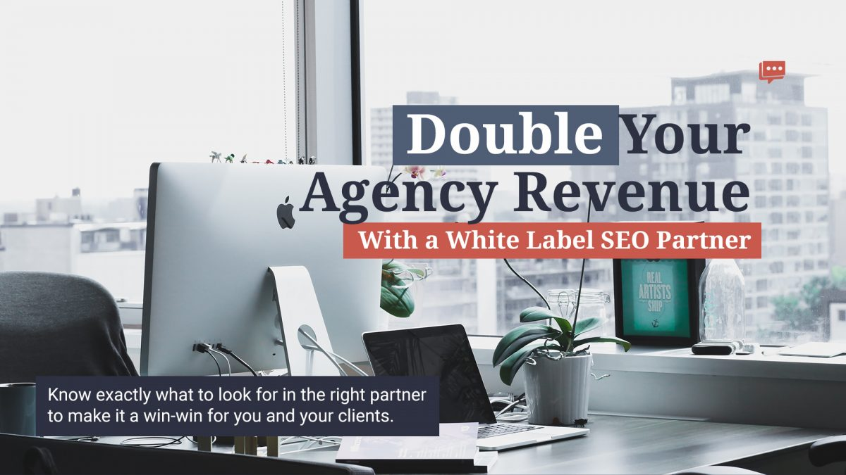 white label SEO company desk and city backdrop